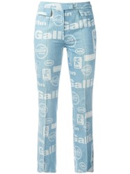 John Galliano Vintage Team Print Flared Jeans Blue