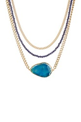 Janna Conner Adele Lapis And Turquoise Fire Agate Necklace No Color
