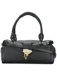 Just Cavalli Chain Clasp Tote Leather Black