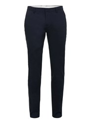 Topman Navy Stretch Twill Ultra Skinny Fit Trousers Blue