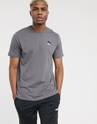Puma Classics Embroidered T Shirt In Grey