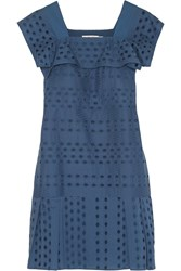 See By Chloe Broderie Anglaise Cotton Dress Blue