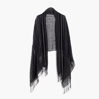 Madewell Gauze Stripe Cape Scarf Cream Blue Navy