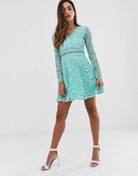 Boohoo Exclusive Lace Skater Dress With Crochet Inserts In Aqua Green
