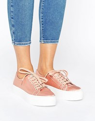 Sixty Seven Sixtyseven Flatform Satin Laceup Trainer C18178 Pink