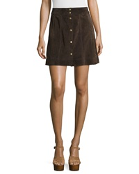 Frame Le Paneled Suede Mini Skirt Chocolate Brown