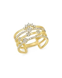 Meira T 14K Yellow Gold Four Band Diamond Ring White Gold