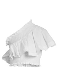 Cecilie Copenhagen One Shoulder Ruffled Cropped Cotton Top White