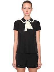 Red Valentino Contrasting Bow Silk Crepe Top Black White