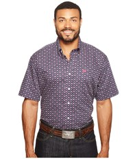 Cinch Short Sleeve Plain Weave Print Navy Men's Clothing