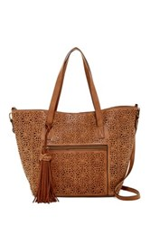 T Shirt And Jeans Lace Mirage Small Tote Brown