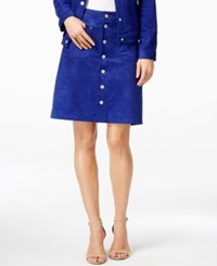 Inc International Concepts Faux Suede Button Down Skirt Only At Macy's Blooming Blue