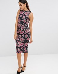 Vesper Sleeveless Floral Print Pencil Dress With Ruching Detail Pink Tapestry