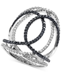 Effy Collection Effy Black And White Diamond Swirl Ring 3 4 Ct. T.W. In 14K White Gold