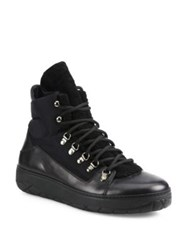 Moncler Aile Froide Shearling Panel Lace Up Boots Black