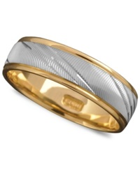 Macy's Men's 14K Gold And 14K White Gold Ring Flash Band Size 6 13