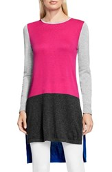 Vince Camuto Women's Colorblock Tunic Sweater Pop Pink