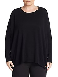 Joan Vass Plus Size Wool And Cashmere Snap Detailed Sweater Black