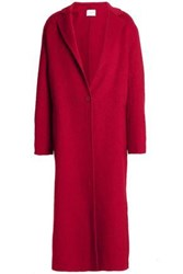 Sandro Wool And Cotton Blend Felt Coat Claret