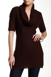 Chaudry Cowl Neck Knit Tunic Brown