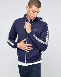 Fred Perry Track Jacket With Taped Sleeves And Hood In Carbon Blue Carbon Blue