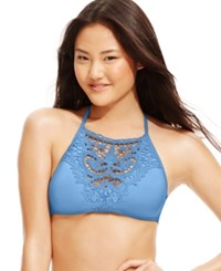 Becca High Neck Lace Applique D Cup Bikini Top Women's Swimsuit Chambray