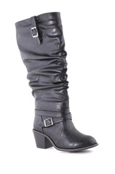 Anna Sugar Slouch Buckle Boot Black