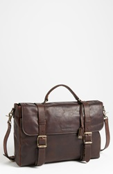 Frye 'Logan' Leather Flap Briefcase Dark Brown