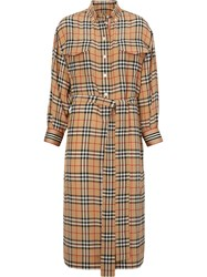 Burberry Vintage Check Silk Tie Waist Shirt Dress Yellow