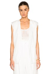 Tibi Linen Vest In White