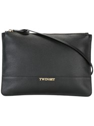 Twin Set Top Zip Crossbody Bag Black