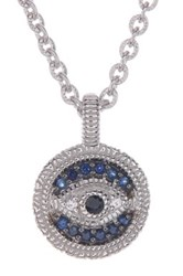 Judith Ripka Sterling Silver Evil Eye Sapphire Pendant Necklace Blue
