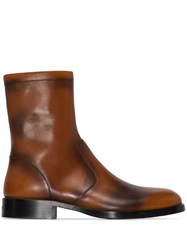 Givenchy Cruz Crackle Zip Up Ankle Boots Brown