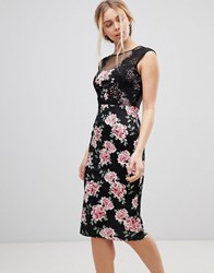 Girls On Film Floral Midi Dress With Lace Detail Black
