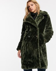 Qed London Faux Fur Midi Coat With Double Button Detail Green