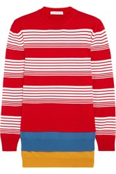 J.W.Anderson Layered Striped Merino Wool Sweater Crimson
