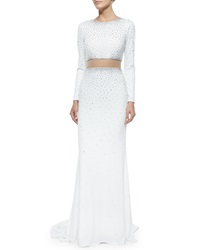 Jovani Long Sleeve Two Piece Illusion Gown