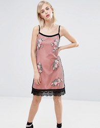 House Of Holland Fishnet Embroidered Dress Pink