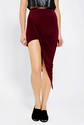 Sparkle And Fade Asymmetrical Drape Knit Maxi Skirt Maroon