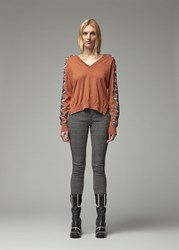 Chloe 'S V Neck Sweater In Tannish Red Size Xs 100 Wool