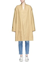 Bassike Detachable Sleeve Oversized Cotton Drill Trench Coat Brown