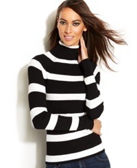 Inc International Concepts Petite Striped Ribbed Knit Turtleneck Sweater