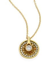 Pleve Opus Diamond And 18K Yellow Gold Round Pendant Necklace