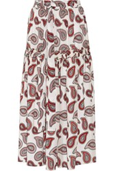 Dodo Bar Or Stevie Paisley Print Silk Crepe De Chine Maxi Skirt Red