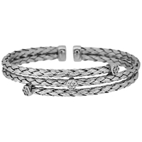 Jools By Jenny Brown 3 Row Plaited Cubic Zirconia Bangle