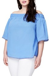 Rachel Roy Plus Size Women's Smocked Off The Shoulder Top Beach Glass Blue