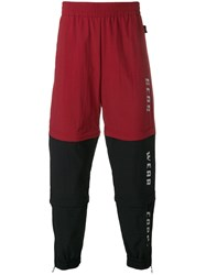 Gcds Contrast Panel Track Pants Red