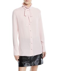 Valentino Tie Neck Button Front Long Sleeve Silk Georgette Blouse Pink