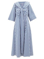 Thierry Colson Violetta Bow Striped Cotton Poplin Midi Dress Blue Stripe