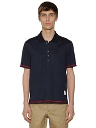 Thom Browne Cotton Jersey Polo W Side Slits Navy